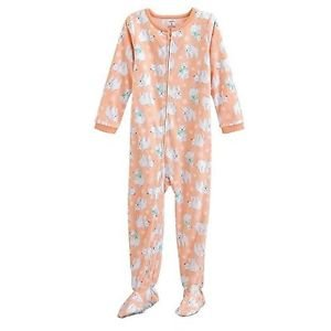 Carter's Girl's 3T Peach Polar Bear, Snowflake Fleece Footed Pajama Sleeper