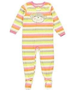 CARTER'S Girl's Size 3T Striped Monkey Fleece Blanket Pajama Sleeper