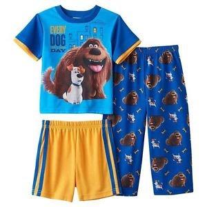 The Secret Life of Pets Duke & Max Boy's 3T OR 4T 3-Pc Pajama Pants, Shorts Set