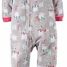CARTER'S Girl's 3T SNOWMAN, CANDY CANES Fleece Footed Pajama Sleeper