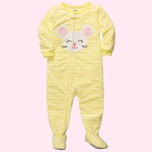 CARTER'S Girl's 4T Yellow Striped MOUSE Micro-Fleece Footed Pajama Sleeper