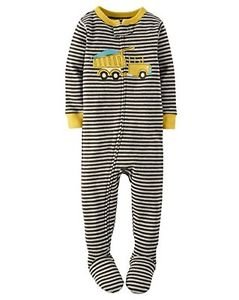 Carter's Boy's Size 3T, 4T OR 5T Striped DUMP TRUCK Cotton Footed Pajamas