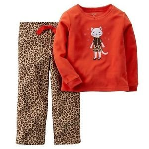 Carters Girl's Size 3T, 4T OR 5T Fleece Orange and Animal Print Kitty Pajama Set