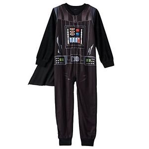 STAR WARS DARTH VADER Boy's Size 8 Caped Fleece Footed Pajama Sleeper