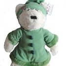 "IVY Plush 15"" Winter-Themed Bear White with Green Fleece Fur Outfit"