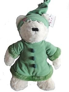 """IVY Plush 15"""" Winter-Themed Bear White with Green Fleece Fur Outfit"""