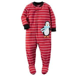 CARTER'S Boy's 3T, 4T OR 5T Striped Red PENGUIN Fleece Footed Pajama Sleeper