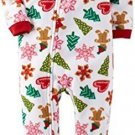 CARTER'S Girl's 5 OR 6 Christmas Gingerbread Cookies Fleece Footed Pajama