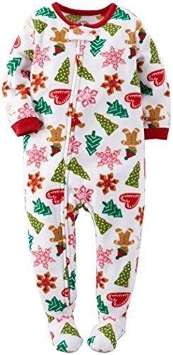 CARTER'S Girl's 5 OR 6 Christmas Gingerbread Cookies Fleece Footed Pajama