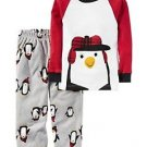 Carter's Boy's Size 3T, 4T OR 5T Winter Penguin Cotton Fleece Pants Pajama Set
