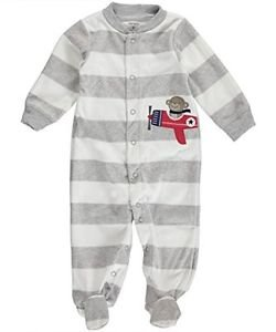 Carter's Striped Monkey Baby Boy's Fleece Sleep & Play Size 3 Months