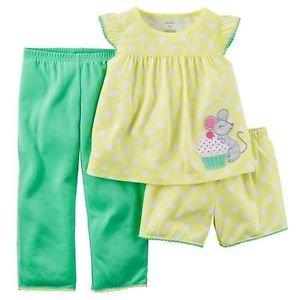 Carter's Baby Girl's 12 Months Cupcake Mouse 3-Piece Pajama Set
