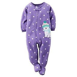 Carter's Girl's 3T Fleece Purple Polka Dot Bear Blanket Pajama Footed Sleeper