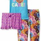 Bunz Kidz Girls' Size 7 OR 8  I Donut Care 3-Piece Pajama Sleepwear Set