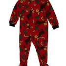 Up-Late Boys Red Fleece Moose Size 4 Pajamas Footed Blanket Sleeper