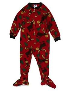 Up-Late Boys Red Fleece Moose Size 4 Pajamas Footed Blanket Sleeper