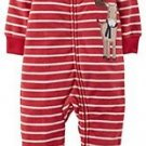 CARTER'S Boys Size 3 Months Striped Moose Footie Pajama Footed Sleeper