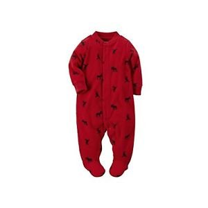 Carter's Red Moose Baby Boy's Fleece Zip-up Sleep & Play Size 3 Months