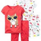 Toddler Girl's 4T BEACH BULLDOG 4-Piece Pajama Shorts, Shirts Set