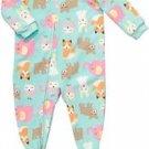 CARTER'S Girl's 5T Sleepy Animals Fleece Footed Pajama Sleeper