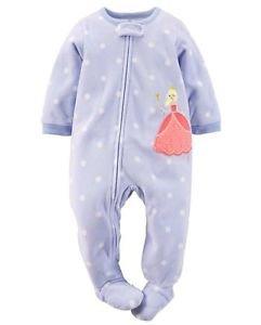 CARTER'S Girl's Size 5T Purple Dot Princess Fleece Blanket Pajama Sleeper
