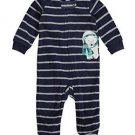 Carter's Striped Polar Bear Newborn Baby Boy's Fleece Zip-up Sleep & Play