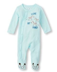 Baby Boy's Newborn, 3-6 Month Blue I LOVE MY FAMILY Zebra Pajama Sleeper, Footie