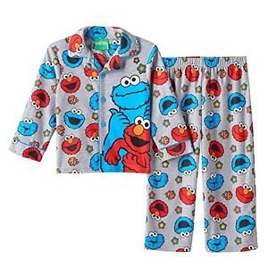 SESAME STREET ELMO and COOKIE MONSTER Flannel Coat PJ Size 3T OR 4T Pajama Set