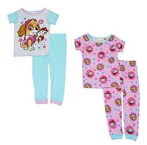 PAW PATROL SKYE And MARSHALL, EVEREST Girl's 4T 4-Piece Pajama PJ Set