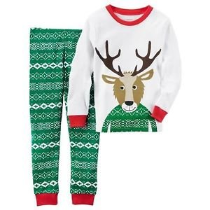 CARTER'S 3T, 4T OR 5T HOLIDAY WINTER Reindeer, Fair Isle Cotton Pajama Set
