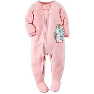 CARTER'S Girl's 3T, 4T OR 5T Pink Polka Dot Penguin Fleece Footed Pajama