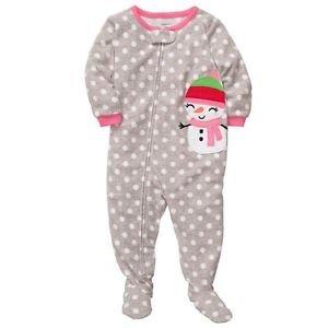 CARTER'S Girl's Size 4 OR 5 Christmas Dot Snowman Fleece Footed Pajama Sleeper