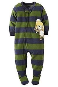 CARTER'S Boy's 4T Fleece MONKEY Striped Footed Pajama Sleeper, Footie