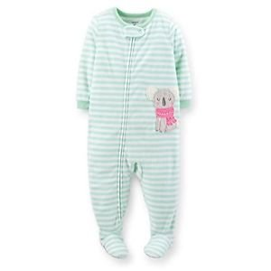 Carter's Girl's 3T, 4T, 5T Mint Green Striped Koala Fleece Footed Pajama Sleeper