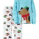 Carter's Boy's Size 3T, 4T OR 5T Winter Sled Dogs Cotton and Fleece Pajama Set