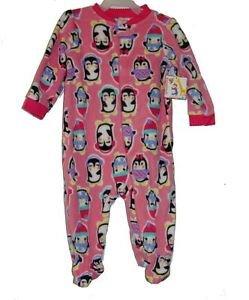 Baby Girl's 6-9 Months Pink Winter Penguin Fleece pajama Sleeper