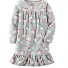 CARTER'S Girl's Size 4/5 Christmas Snowman, Candy Canes Fleece Nightgown, Gown