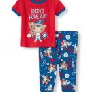 Boys 3T Short Sleeve 'Daddy's Home Run Hero' Baseball Bear Graphic Top Pants PJ