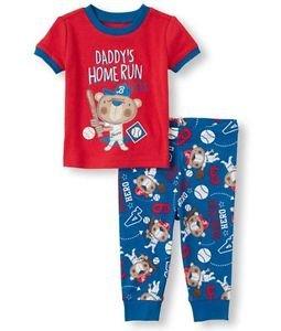 Boys 3T Short Sleeve 'Daddy's Home Run Hero' Baseball Bear Graphic Top Pants PJ