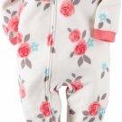 Carter's Girl's 3T, 4T OR 5T Fleece Rose Blanket Pajama Footed Sleeper, Footie
