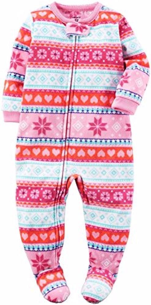 CARTER'S Girl's 2T, 3T, 4T OR 5T Pink Fair Isle Fleece Blanket Pajama Sleeper