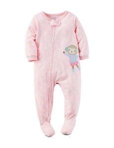 CARTER'S Girl's 3T, 4T OR 5T Fleece Dot  Skating Monkey Blanket Pajama Sleeper