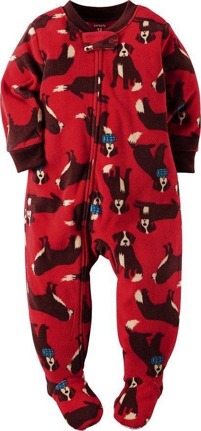 CARTER'S Boy's Size 18 OR 24 Months ST. BERNARD Fleece Footed Pajama Sleeper