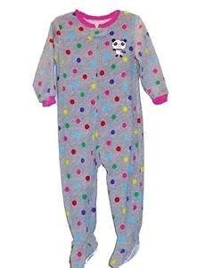Carter's Girl's 3T Polka Dot Panda Bear Footed Fleece Pajama Sleeper