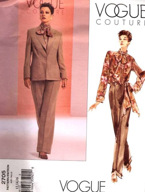 Vogue Pattern 2705 NY NY Pant Suit Size 12-16  OOP