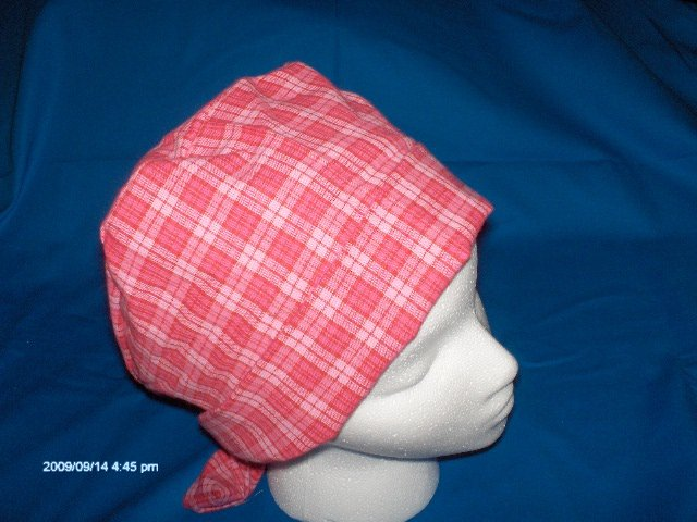 SURGICAL SCRUB CAP HAT PIXIE EASY FIT PINK PLAID