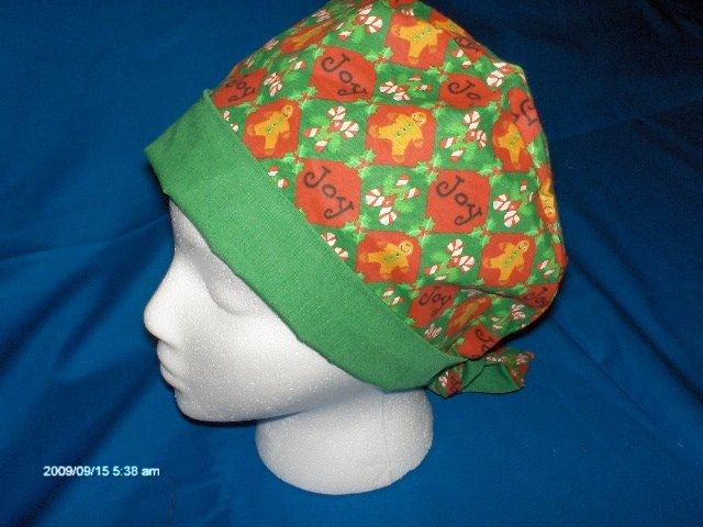 MEDICAL SURGICAL SCRUB CAP HAT PIXIE TIE-BACK  CHRISTMAS JOY