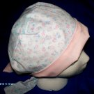 SURGICAL MEDICAL LADIES HAT PIXIE SCRUB CAP BABY BLUE AND PINK FLOWERS