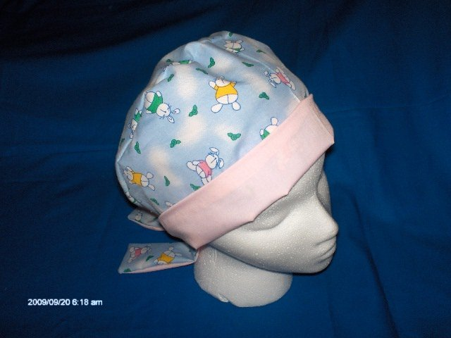 Surgical Scrub Hat Cap Pixie Easy Fit Ladies Little Bunnies