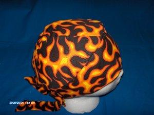 Skull Cap Bandana Do Rag Headwrap FLAMES ON BLACK